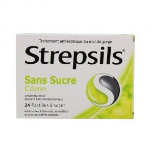 Strepsils citron sans sucre 24 pastilles édulcorées à l'isomalt au maltitol