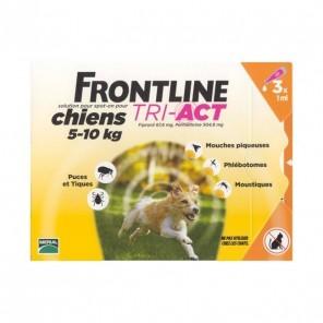 Frontline Tri-Act Chiens 5-10 kg 3 Pipettes de 1 ml