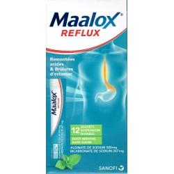 Maalox Reflux Menthe Sans Sucre 12 Sachets