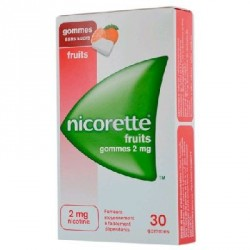 Nicorette fruits 2mg sans sucre 30 gommes à mâcher
