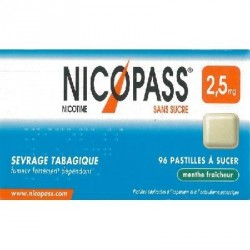 Nicopass menthe fraicheur 2.5mg sans sucre pastille édulcorée à l'aspartam et à l'acésulfame potassique 96 pastilles