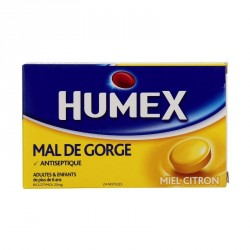 Humex mal de gorge miel citron 20mg 24 pastilles