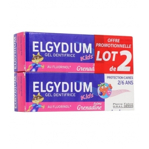 Elgydium Kids dentifrice Protection caries 2-6 ans Grenadine 2 x 50ml